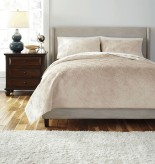 Ashley Patterned Golden Beige Queen Coverlet Set Available Online in Dallas Fort Worth Texas