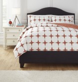 Ashley Cyrun Orange Queen Duvet Cover Set Available Online in Dallas Fort Worth Texas