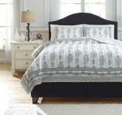 Ashley Almeda Gray Queen Coverlet Set Available Online in Dallas Fort Worth Texas