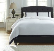 Ashley Ransik Pike White and Navy King Duvet Cover Set Available Online in Dallas Fort Worth Texas