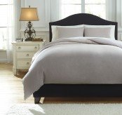 Ashley Bergden Light Gray Queen Duvet Cover Set Available Online in Dallas Fort Worth Texas