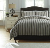 Ashley Navarre Black and Natural Queen Duvet Cover Set Available Online in Dallas Fort Worth Texas