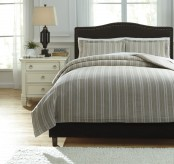 Ashley Navarre White & Natural Queen Duvet Cover Set Available Online in Dallas Fort Worth Texas