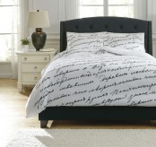 Ashley Amantipoint White and Gray Queen Duvet Cover Set Available Online in Dallas Fort Worth Texas