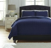 Ashley Amare Navy King Coverlet Set Available Online in Dallas Fort Worth Texas