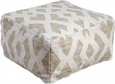 Ashley Badar Taupe/White Pouf Available Online in Dallas Fort Worth Texas