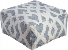 Ashley Badar Teal/White Pouf Available Online in Dallas Fort Worth Texas