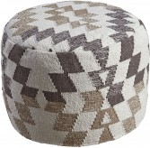 Abraham White and Brown Pouf Available Online in Dallas Fort Worth Texas