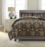 Ashley Amberlin Onyx & Gold Queen Comforter Set Available Online in Dallas Fort Worth Texas