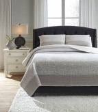 Ashley Florencia Gray/White Queen Quilt Set Available Online in Dallas Fort Worth Texas