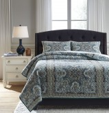 Ashley Myrtal Blue/Teal Queen Quilt Set Available Online in Dallas Fort Worth Texas