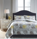 Ashley Gastonia Gray/Yellow Queen Comforter Set Available Online in Dallas Fort Worth Texas