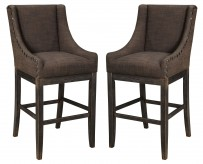Ashley Moriann Dark Brown Tall Upholstered Barstool Available Online in Dallas Fort Worth Texas