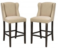 Ashley Moriann Light Beige Tall Upholstered Barstool Available Online in Dallas Fort Worth Texas