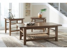 Ashley Zantori Light Brown Coffee Table Set Available Online in Dallas Fort Worth Texas