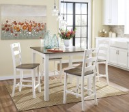 Ashley Woodanville White & Brown Counter Height Dining Table Set Available Online in Dallas Fort Worth Texas
