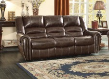 Homelegance Center Hill Dark Brown Power Double Reclining Sofa Available Online in Dallas Fort Worth Texas