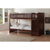 Rowe Dark Cherry Twin/Twin Bunk Bed with Step Storage Available Online in Dallas Fort Worth Texas