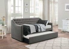 Tulney Dark Gray Button Tufted Upholstered Daybed with Trundle Available Online in Dallas Fort Worth Texas