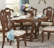 Homelegance Moorewood Park Pecan Round Dining Table with Leaf Available Online in Dallas Fort Worth Texas