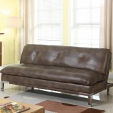 Coaster Futons Brown Leatherette Sofa Bed Available Online in Dallas Fort Worth Texas