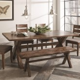 Coaster Alston Knotty Nutmeg Dining Table with Wavy Edge Available Online in Dallas Fort Worth Texas