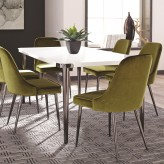 Riverbank White and Chrome Dining Table Available Online in Dallas Fort Worth Texas
