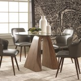 Coaster Abbott Walnut Round Dining Table Available Online in Dallas Fort Worth Texas