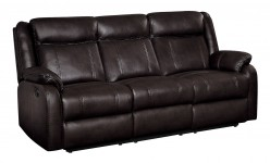 Homelegance Jude Dark Brown Double Reclining Sofa with Center Drop-Down Cup Holders Available Online in Dallas Fort Worth Texas