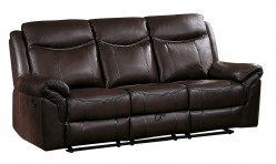 Homelegance Aram Dark Brown Double Reclining Sofa with Center Drop-Down Cup Holders Available Online in Dallas Fort Worth Texas