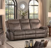 Homelegance Aram Brown Double Reclining Sofa with Drop-Down Table and Center Storage Drawer Available Online in Dallas Fort Worth Texas