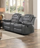 Homelegance Taye Gray Double Glider Reclining Love Seat with Center Console Available Online in Dallas Fort Worth Texas