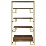 Coaster Scott Brushed Brass and Warm Walnut Etagere Available Online in Dallas Fort Worth Texas