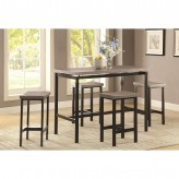 Coaster Dinettes 5pc Gunmetal And Weathered Oak Dining Table Set Available Online in Dallas Fort Worth Texas