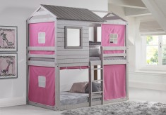 Donco Light Grey Twin/Twin Bunk Bed With Pink Tent Available Online in Dallas Fort Worth Texas
