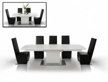 VIG A&X Centro Modern White Crocodile Dining Table Available Online in Dallas Fort Worth Texas