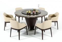 Modrest Margot Brown Marble Round Dining Table Available Online in Dallas Fort Worth Texas