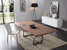 Addy Walnut & Stainless Steel Dining Table Available Online in Dallas Fort Worth Texas