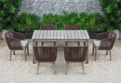Renava Fiji 7pc Outdoor Brown Dining Table Set Available Online in Dallas Fort Worth Texas