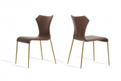 Marcia Cognac & Antique Brass Dining Chair Available Online in Dallas Fort Worth Texas
