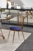Brenna Blue & Gold Dining Chair Available Online in Dallas Fort Worth Texas