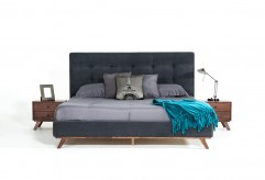 Addison Grey Fabric & Walnut Bed Available Online in Dallas Fort Worth Texas