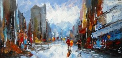 Abstract City Oil Painting Available Online in Dallas Fort Worth Texas
