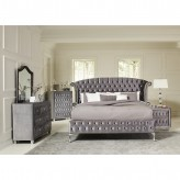 Coaster Deanna 5pc Grey King Upholstered Platform Bedroom Group Available Online in Dallas Fort Worth Texas