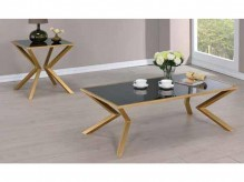 Coaster Salu 3pc Brushed Brass Coffee Table Set Available Online in Dallas Fort Worth Texas