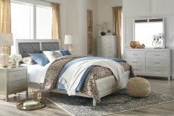 Ashley Olivet 5pc King Silver Bedroom Set Available Online in Dallas Fort Worth Texas