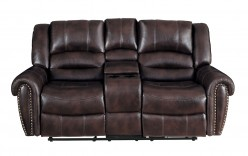 Center Hill Dark Brown Glider Reclining Loveseat Available Online in Dallas Fort Worth Texas