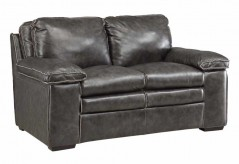 Regalvale Charcoal Leather Loveseat Available Online in Dallas Texas