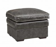 Regalvale Charcoal Leather Ottoman Available Online in Dallas Texas