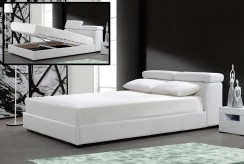 Logan White Leatherette Bed With Storage Available Online in Dallas Fort Worth Texas